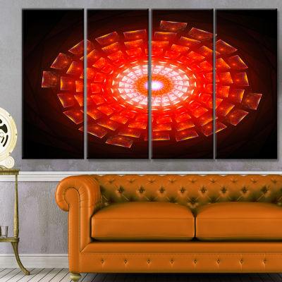 Designart Circular Vortex Broken Particles FloralCanvas Art Print - 4 Panels