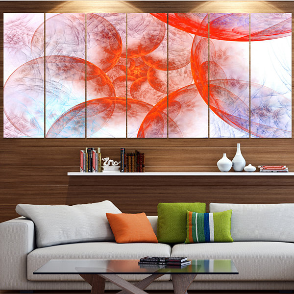 Design Art Large Red Fractal Circles Floral CanvasArt Print- 4 Panels