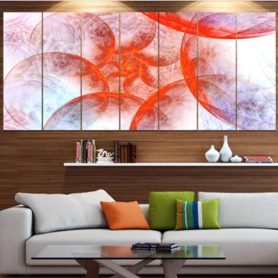 Design Art Large Red Fractal Circles Floral CanvasArt Print- 6 Panels