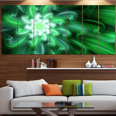 Designart Large Green Exotic Flower Petals FloralCanvas Art Print - 4 Panels
