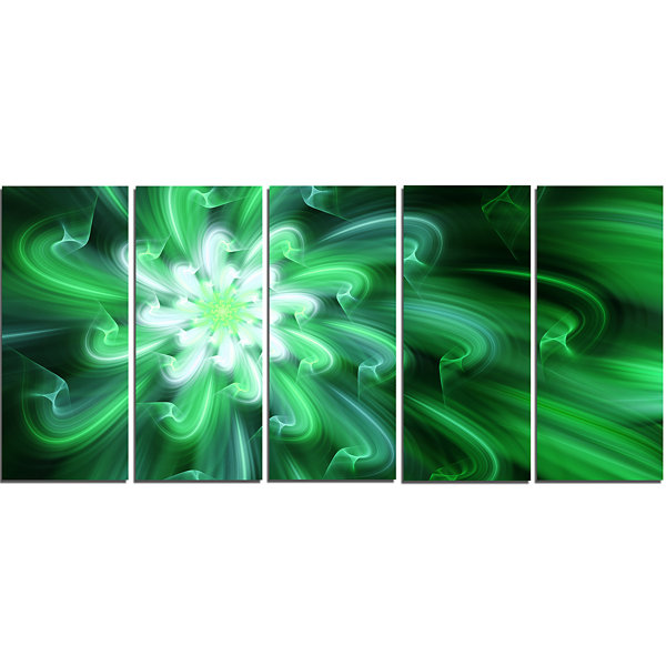 Designart Large Green Exotic Flower Petals FloralCanvas Art Print - 5 Panels