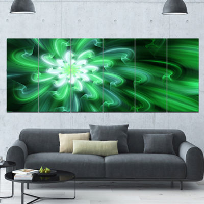 Designart Large Green Exotic Flower Petals FloralCanvas Art Print - 6 Panels