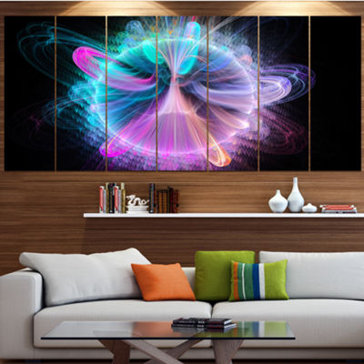 Designart Blue Fractal Vortices Of Energy Large Floral Canvas Art Print - 5 Panels