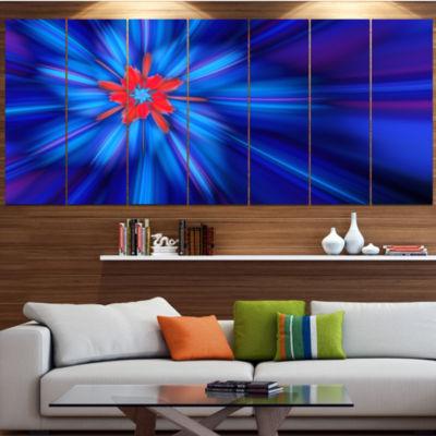 Designart Rotating Fractal Blue Fireworks Large Floral Canvas Art Print - 5 Panels