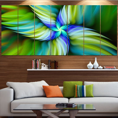 Designart Rotating Fractal Green Star Large FloralCanvas Art Print - 5 Panels