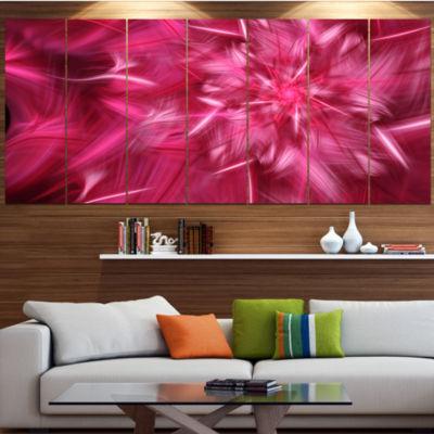 Designart Rotating Fractal Pink Fireworks Large Floral Canvas Art Print - 5 Panels