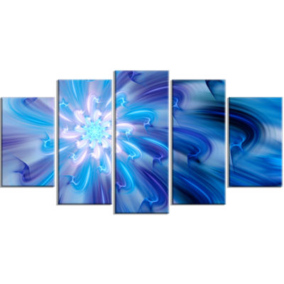 Designart Dance Of Blue Fractal Flower Petals Large Floral Canvas Art Print - 5 Panels