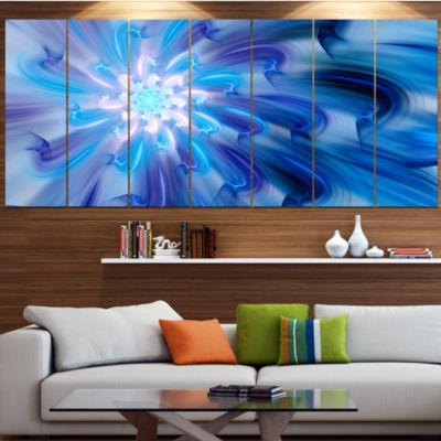 Designart Dance Of Blue Fractal Flower Petals Floral Canvas Art Print - 7 Panels