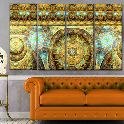 Designart Brown Extraterrestrial Life Cells FloralCanvas Art Print - 4 Panels