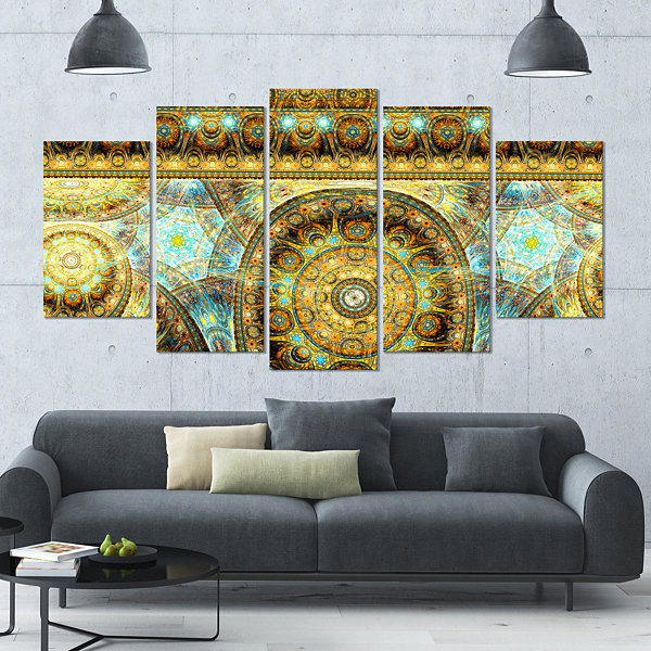 Design Art Brown Extraterrestrial Life Cells LargeFloral Canvas Art Print - 5 Panels