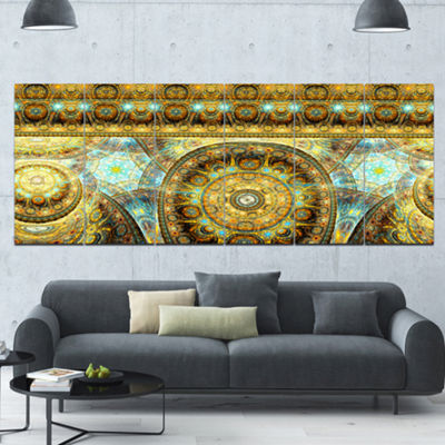 Designart Brown Extraterrestrial Life Cells FloralCanvas Art Print - 6 Panels