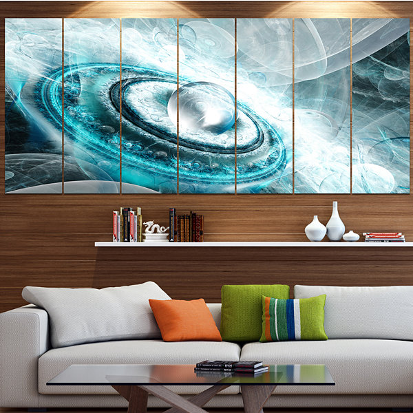 Designart Blue Fractal Flying Saucer Floral CanvasArt Print- 4 Panels