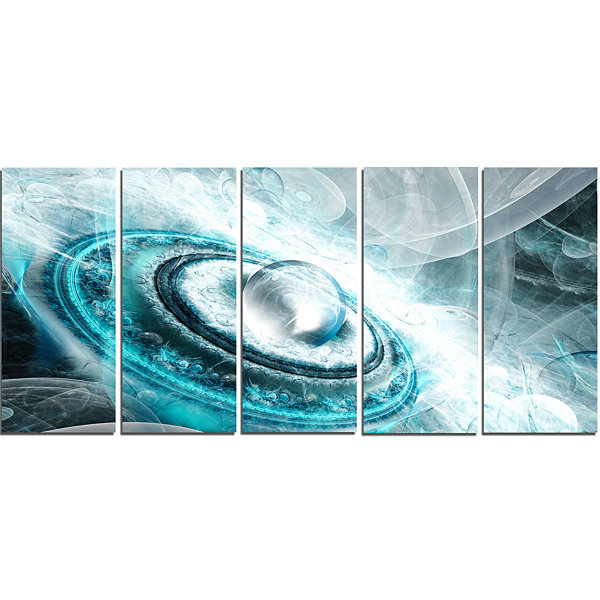 Designart Blue Fractal Flying Saucer Floral CanvasArt Print- 5 Panels