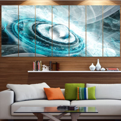 Designart Blue Fractal Flying Saucer Floral CanvasArt Print- 6 Panels
