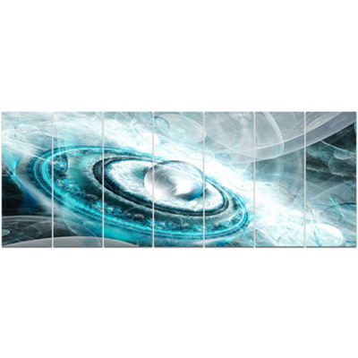 Designart Blue Fractal Flying Saucer Floral CanvasArt Print- 7 Panels