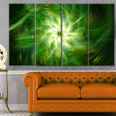 Rotating Fractal Green Fireworks Floral Canvas ArtPrint - 4 Panels