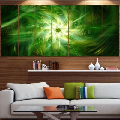 Designart Rotating Fractal Green Fireworks FloralCanvas Art Print - 7 Panels