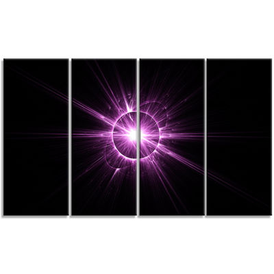 Designart Purple Flash Of Bright Star Floral Canvas Art Print - 4 Panels