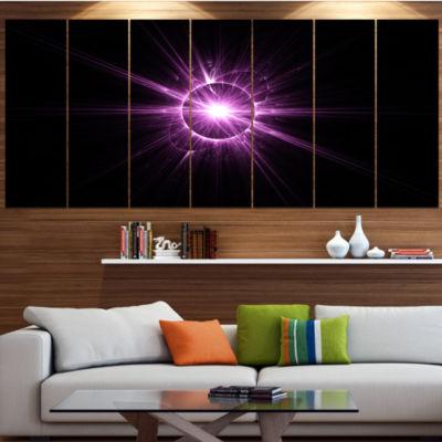 Purple Flash Of Bright Star Large Floral Canvas Art Print - 5 Panels