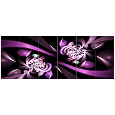Designart Purple On Black 3D Surreal Art Floral Canvas Art Print - 6 Panels