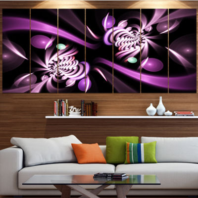 Designart Purple On Black 3D Surreal Art Floral Canvas Art Print - 7 Panels
