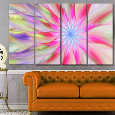 Dance Of Pink Exotic Flower Floral Canvas Art Print - 4 Panels