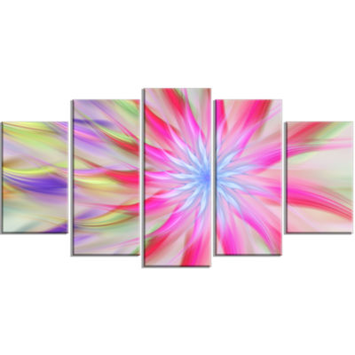 Designart Dance Of Pink Exotic Flower Large FloralCanvas Art Print - 5 Panels