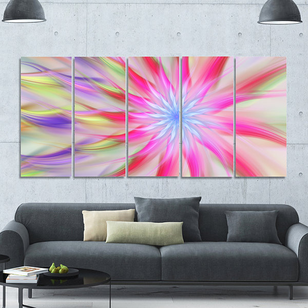 Design Art Dance Of Pink Exotic Flower Floral Canvas Art Print - 5 Panels
