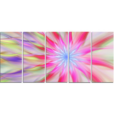 Designart Dance Of Pink Exotic Flower Floral Canvas Art Print - 5 Panels