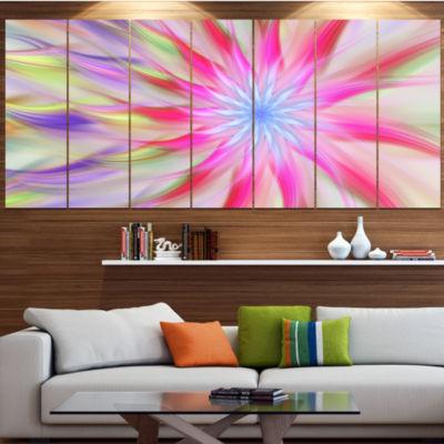 Designart Dance Of Pink Exotic Flower Floral Canvas Art Print - 7 Panels