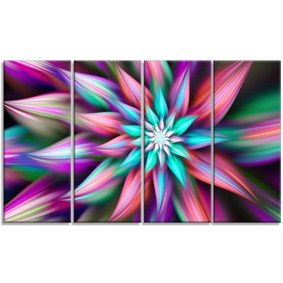 Designart Dance Of Multi Color Exotic Flower Floral Canvas Art Print - 4 Panels