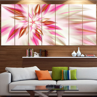 Designart Dance Of Red Exotic Flower Floral CanvasArt Print- 5 Panels