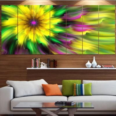 Dance Of Yellow Exotic Flower Floral Canvas Art Print - 4 Panels