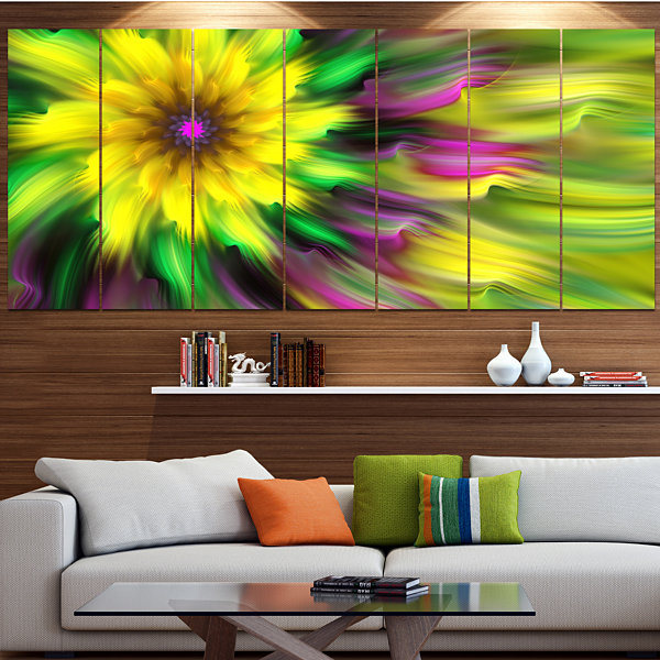 Designart Dance Of Yellow Exotic Flower Floral Canvas Art Print - 4 Panels