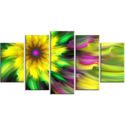 Designart Dance Of Yellow Exotic Flower Large Floral Canvas Art Print - 5 Panels