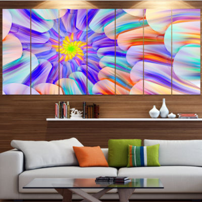 Designart Multi Colored Stain Glass With SpiralsFloral Canvas Art Print - 5 Panels