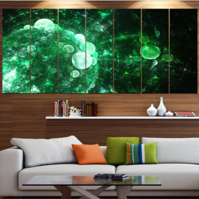 Design Art Green Spherical Water Droplets Floral Canvas Art Print - 4 Panels