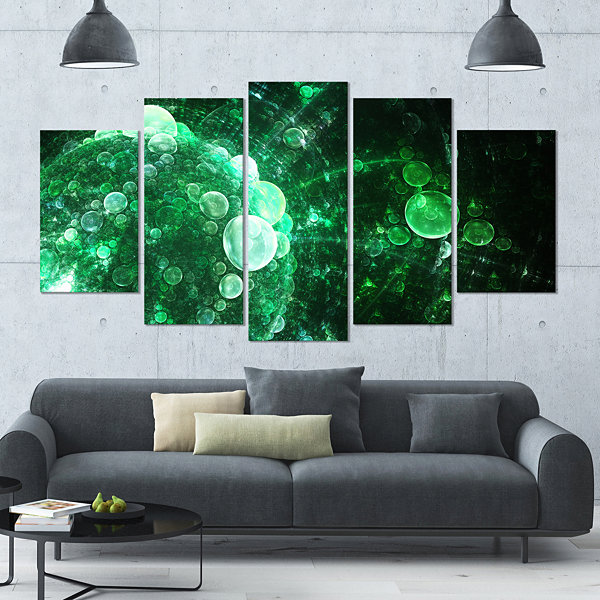 Design Art Green Spherical Water Droplets Large Floral Canvas Art Print - 5 Panels