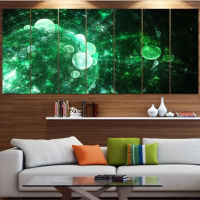 Designart Green Spherical Water Droplets Floral Canvas Art Print - 7 Panels