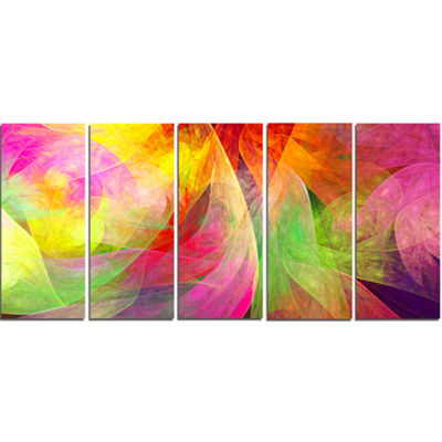 Designart Spectacular Multi Color Pattern FloralCanvas Art Print - 5 Panels