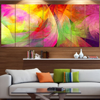 Designart Spectacular Multi Color Pattern FloralCanvas Art Print - 7 Panels