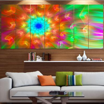 Designart Amazing Multi Color Petals Dandelion MultiColor Floral Canvas Art Print - 5 Panels
