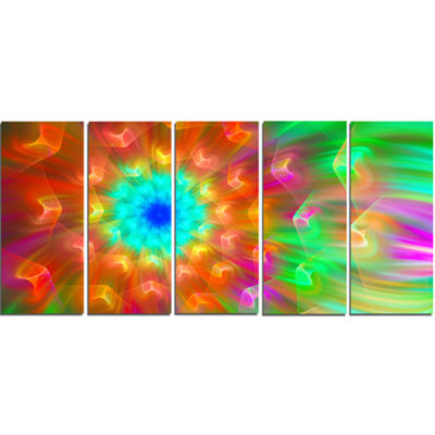 Designart Amazing Multi Color Petals Dandelion Floral Canvas Art Print - 5 Panels