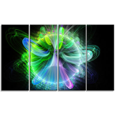 Designart Bright Blue Fractal Vortices Of EnergyFloral Canvas Art Print - 4 Panels