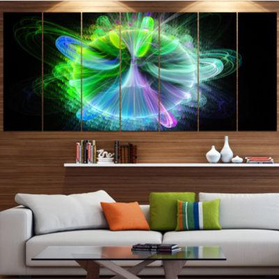 Bright Blue Fractal Vortices Of Energy Large Floral Canvas Art Print - 5 Panels