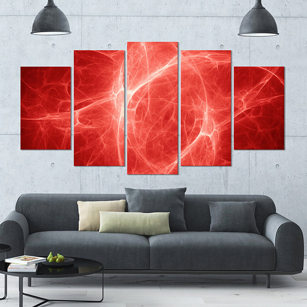 Design Art Bright Lightning On Red Sky Large Floral Canvas Art Print - 5 Panels