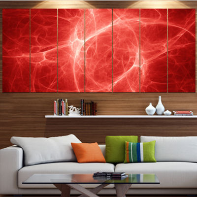 Designart Bright Lightning On Red Sky Large FloralCanvas Art Print - 5 Panels