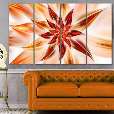 Designart Dance Of Brown Exotic Flower Floral Canvas Art Print - 4 Panels