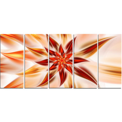 Dance Of Brown Exotic Flower Floral Canvas Art Print - 5 Panels