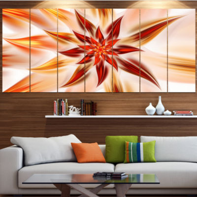 Designart Dance Of Brown Exotic Flower Floral Canvas Art Print - 7 Panels